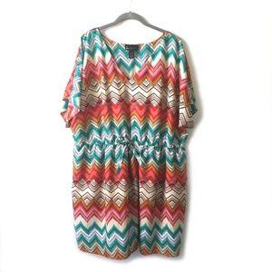 Lane Bryant Multi-color Chevron v neck dress